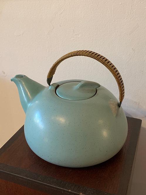 "Vintage Ceramic ""Heath"" Teapot w/ rattan handle"