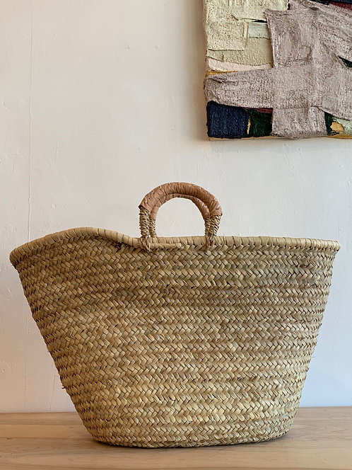 """Market"" Basket w/ Leather Handles"