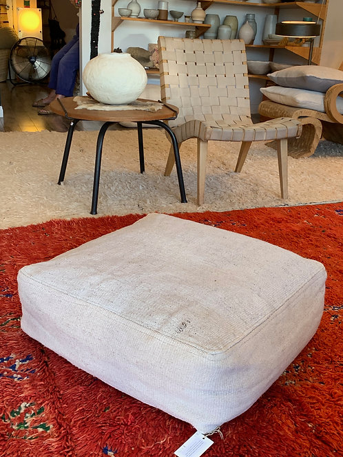 "Light Grey Square 36"" Turkish Hemp Floor Pillow"