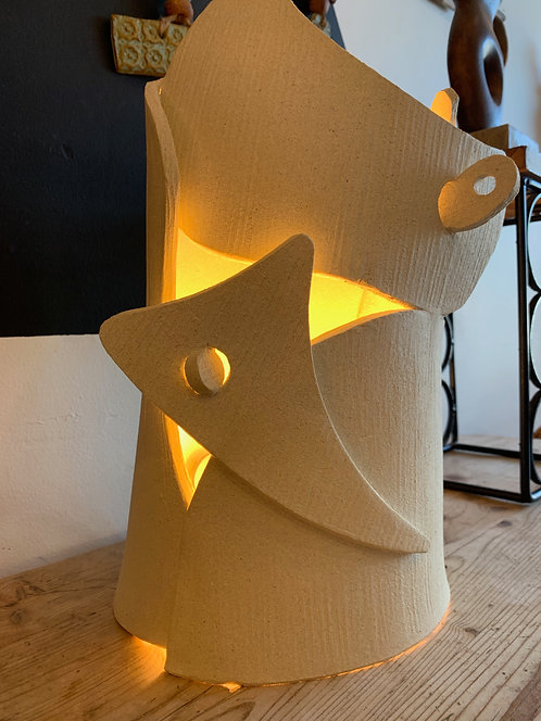 Large White Ceramic Table Lamp By Olivia Cognet