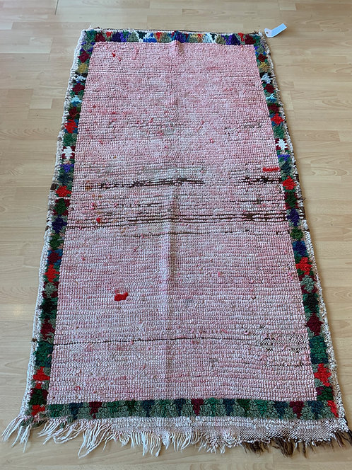 Abstract Pink Rug w/ Multicolor Border