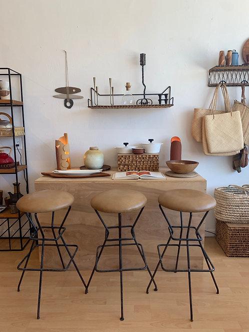 Leather & Iron Bar Stools