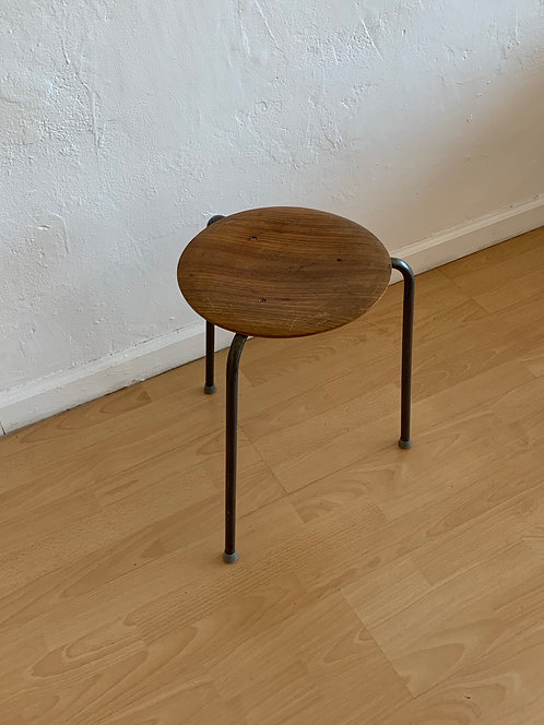 Three-Legged Stacking Stool with Molded Plywood Seatings, 1950s Denmark
