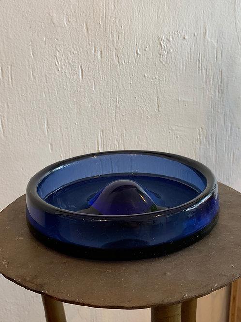 """Deep Blue"" Glass Ashtray"