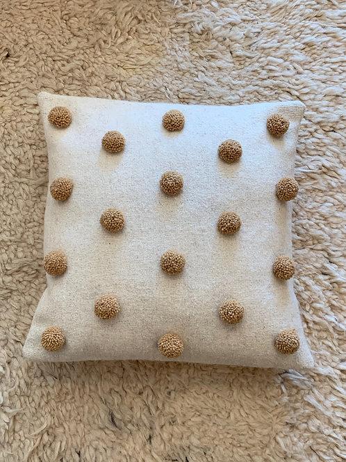 Brown on White 'Pom Pom' Pillow