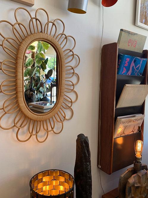 Vintage Rattan ' Franco Albini' Style Mirror