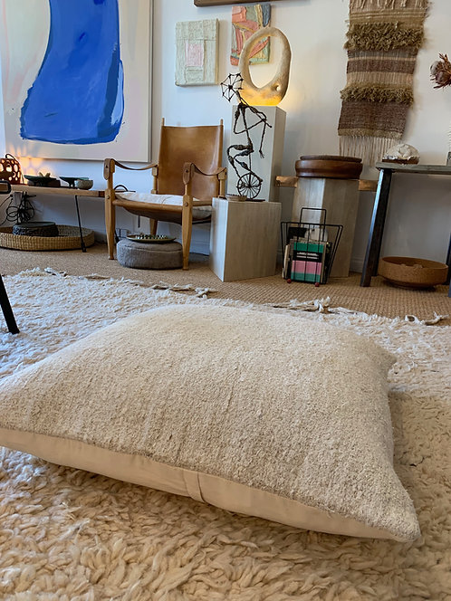 "28"" White Turkish Hemp Floor Pillow"