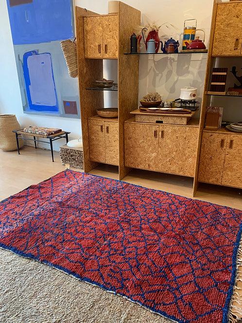 Vintage Red & Blue Moroccan Rug