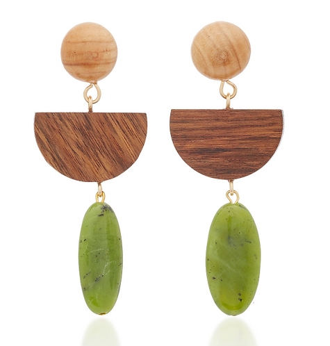 Wood and Jade Earrings