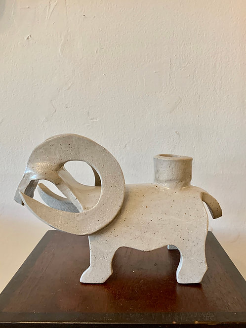 Ceramic Ram Candlestick Holder