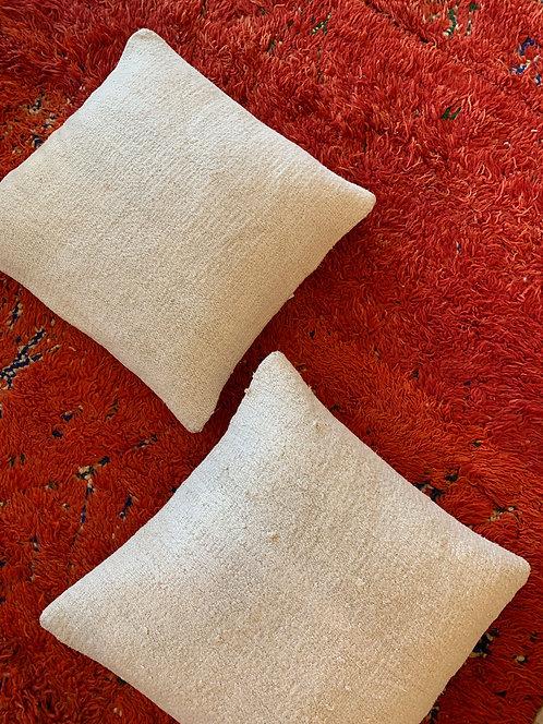 "White Natural Turkish  Hemp Pillow 20"""