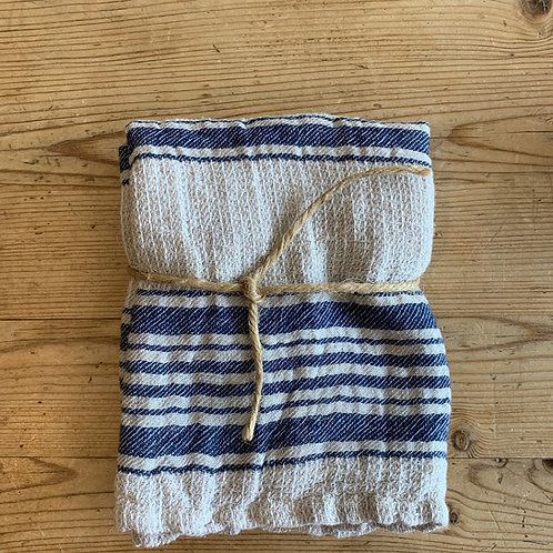 Handwoven Cotton w/ Blue Stripe- Tea Towel