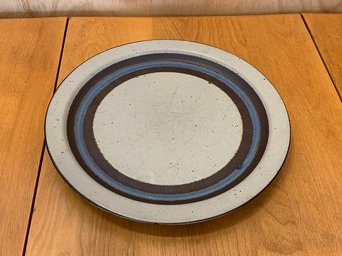 Blue Circle Stoneware Ceramic Plate - JAPAN