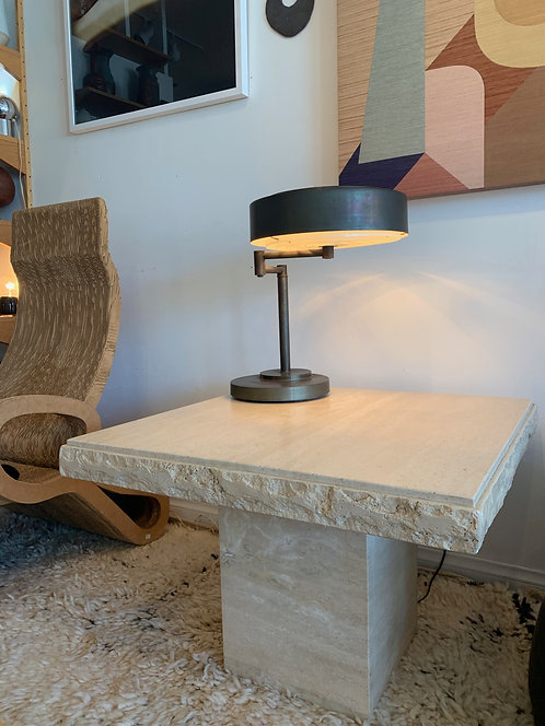 Pair of 1970's abstract travertine side tables
