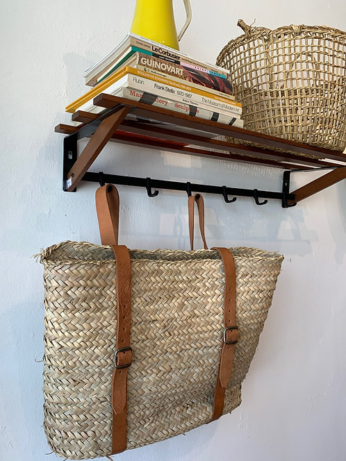 Handwoven Basket BackPack w/ Leather