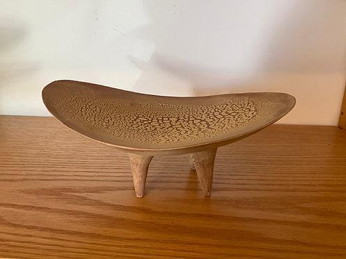 Ceramic Tan Oval  Dish By Dan Hukill