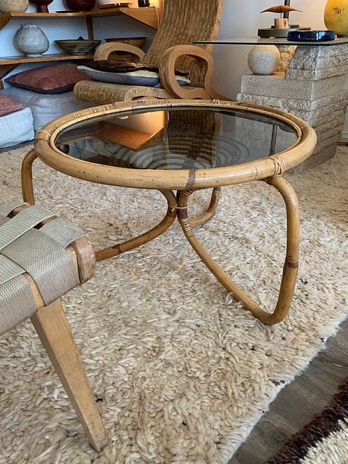 French Mid Century Modern Rattan/ Glass Side Table