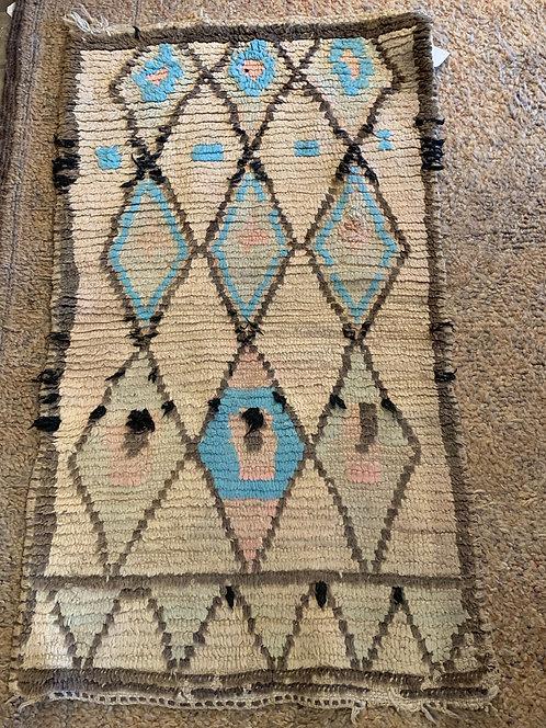 Vintage Moroccan Small Blue Rug