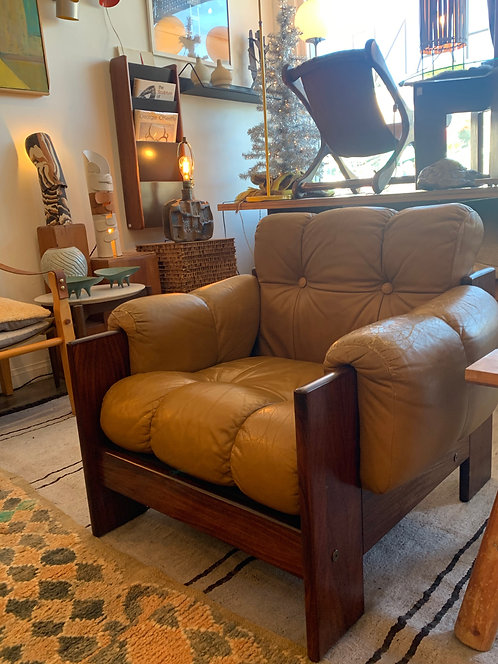 Tufted Leather Lounge Chair W/ Rosewood Frame and Original Yellow Leather