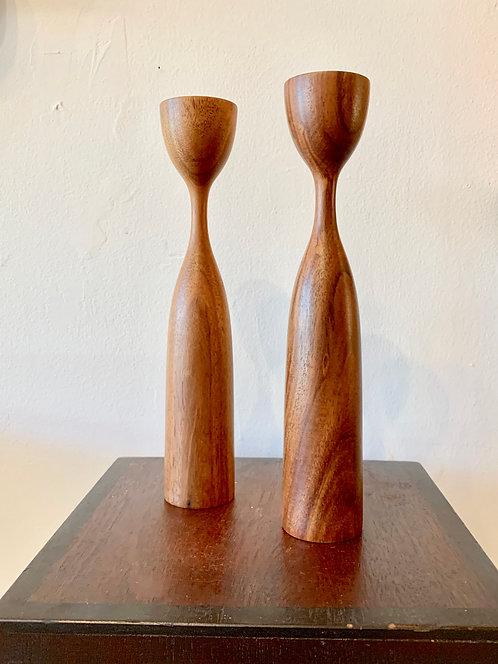 wooden dansk candlesticks