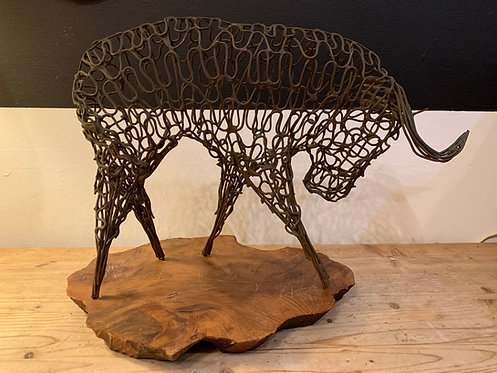 Metal Wire Bull w/ wooden stand
