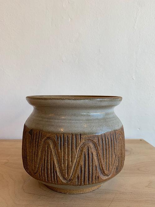 Mid Century Modern Grey Scratch Pot