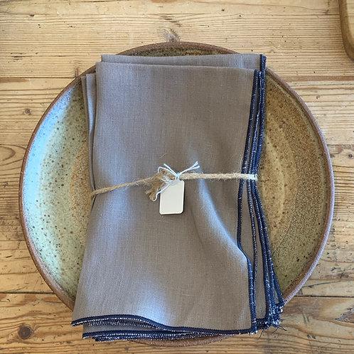 Linen  Napkins w/ Blue Trim - Set of 6