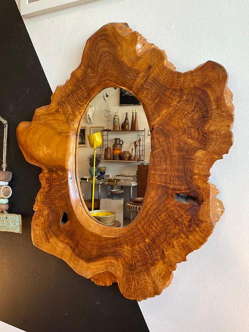 Vintage Wooden Live Edge Mirror