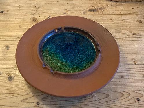 John Pacini Ceramic Ashtray/ Dish w/ Blue Green Glaze