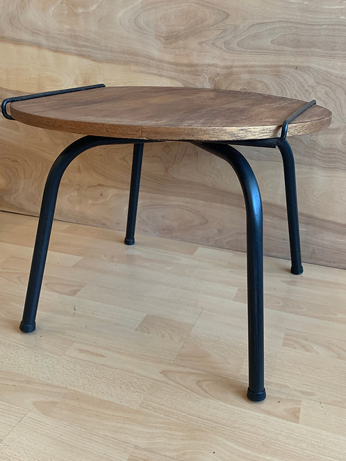 Mid Century Walnut and Iron Side Table