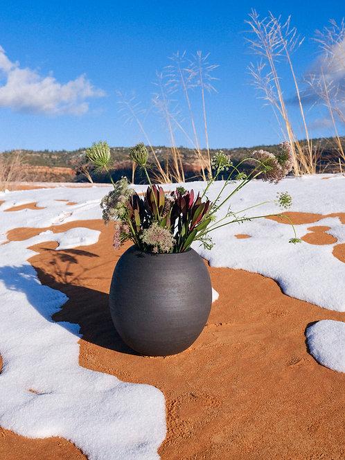 Black raw stoneware vase by Salamat