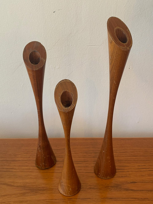 Set of 3 Danish Wooden Candleholders