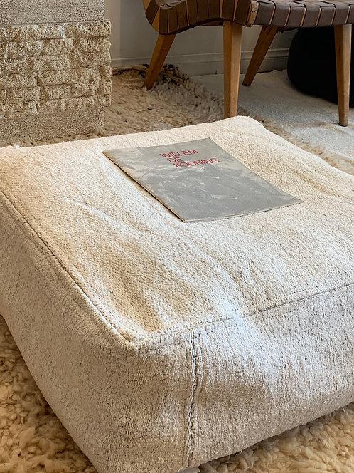 Large White Square Hemp Floor Pillow