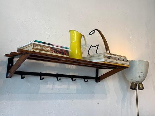 Mid Century Wooden Coat Hanger/ Bookshelf