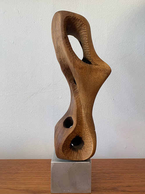 Wooden Abstract Sculpture w/ Steel Base