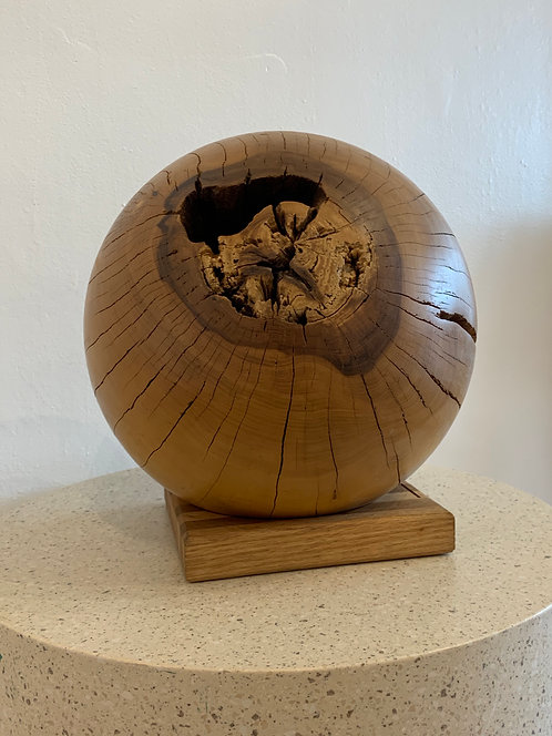 Wooden Abstract Ball with Stand