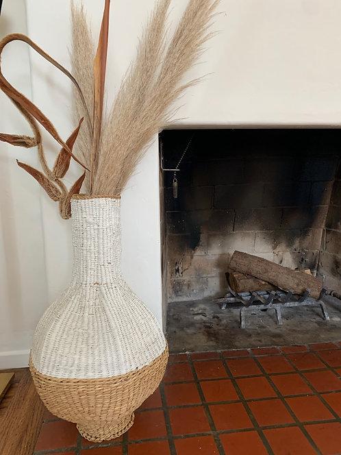 2 Tone Large Hand Woven Basket Vase