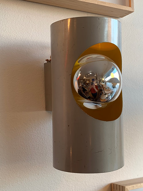 1960's French Chrome Yellow Sconce