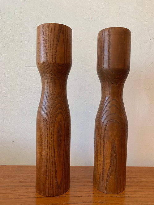 Pair of Wooden Candle Holders