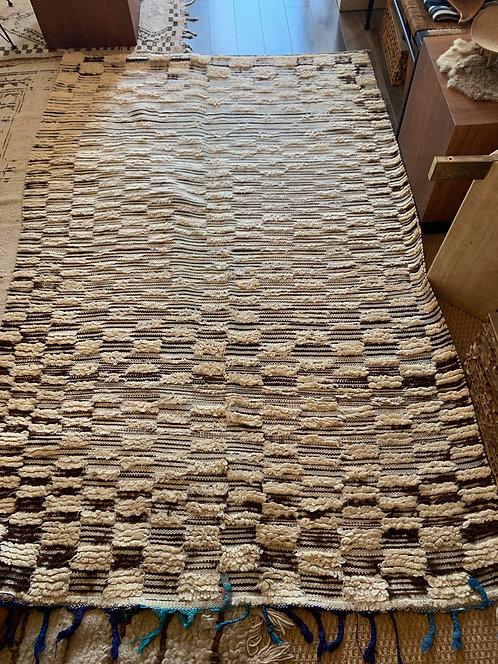 Vintage Moroccan Checkered Rug w/ Blue Tassles