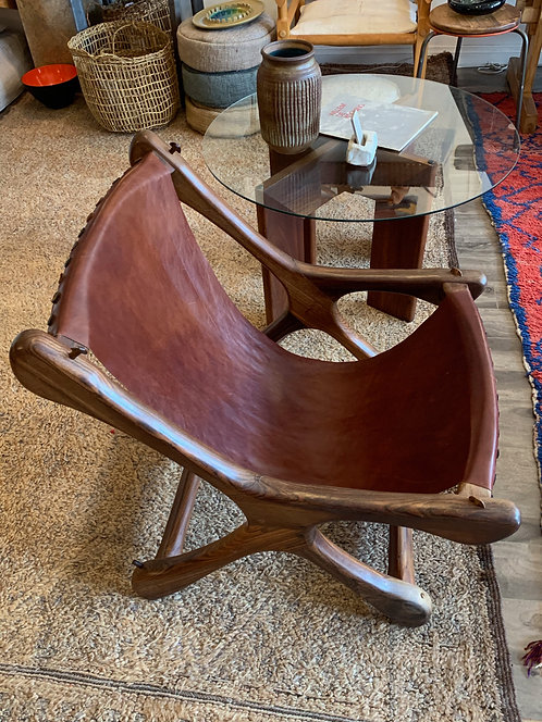 "Don Shoemaker Leather ""Sloucher"" Chair"