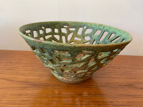 Green Abstract Handmade Fruit Bowl