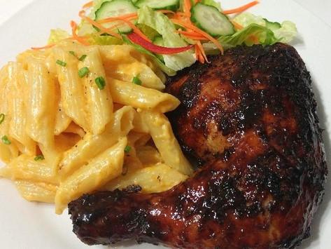 Oven Honey Jerk Chicken with Stovetop Mac n Cheese