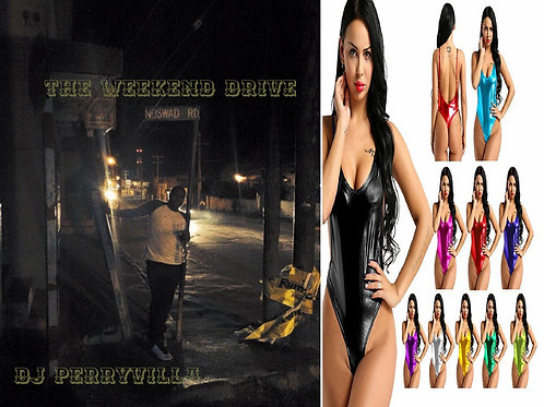 The Weekend Drive Album Cd & Backless Patent Leather Bodysuit Swimsuit