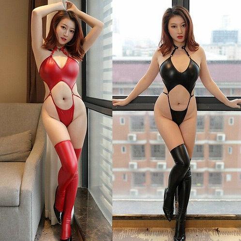 Women's High Cut PU Leather Bodysuit
