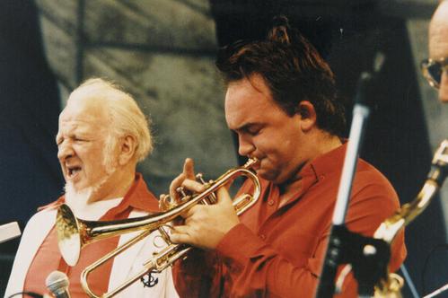 The Esso Australian Jazz summit, Bondi beach. Don Burrows Quintet; Left to right Joe Lane(Scat singer), James Morrison(Trumpet), Don Burrows (Saxaphone).