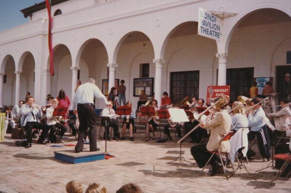 Bondi Pavilion Activities Waverley bands plays in front of Bondi Pavilion.