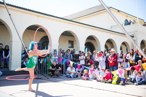 2017 Performers in the Pavilion courtyard (photo: Amy Janowski)