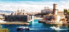 vue de l'entrée du Vieux-Port de Marseille, MUCEM et Fort Saint-Jean + lien vers des autres vues de la ville