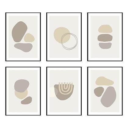 Abstract Neutrals Print - Set of 6 Prints